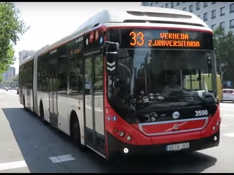 Volvo hybrid articulated bus, in Barcelona