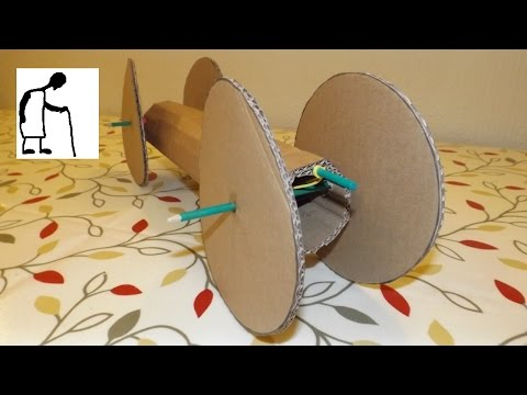 Rubber Band Powered Car  - cardboard tube and wheels