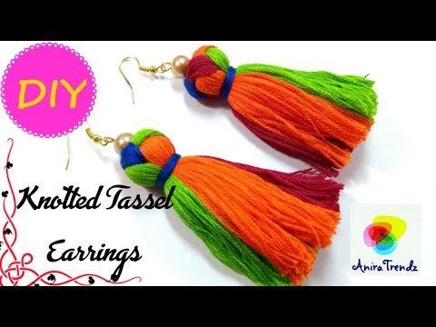 DIY Knotted 4 colour Tassel How to make tassel Earrings in four colour Tutorial Saree Kuchu