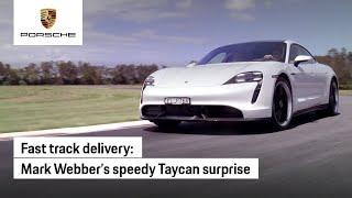Mark Webber delivers Porsche Taycan surprise
