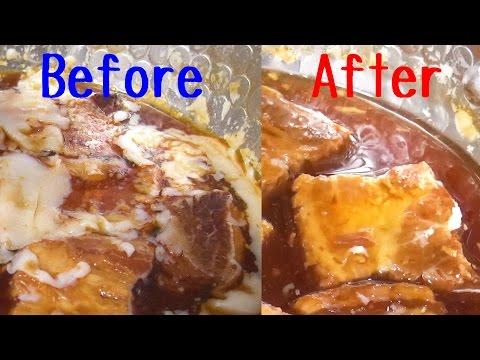 角煮などの浮いた油のカンタンな取り方/Remove oil from Pork Kakuni Using Plastic wrap【ラップを使った料理系ライフハック動画】