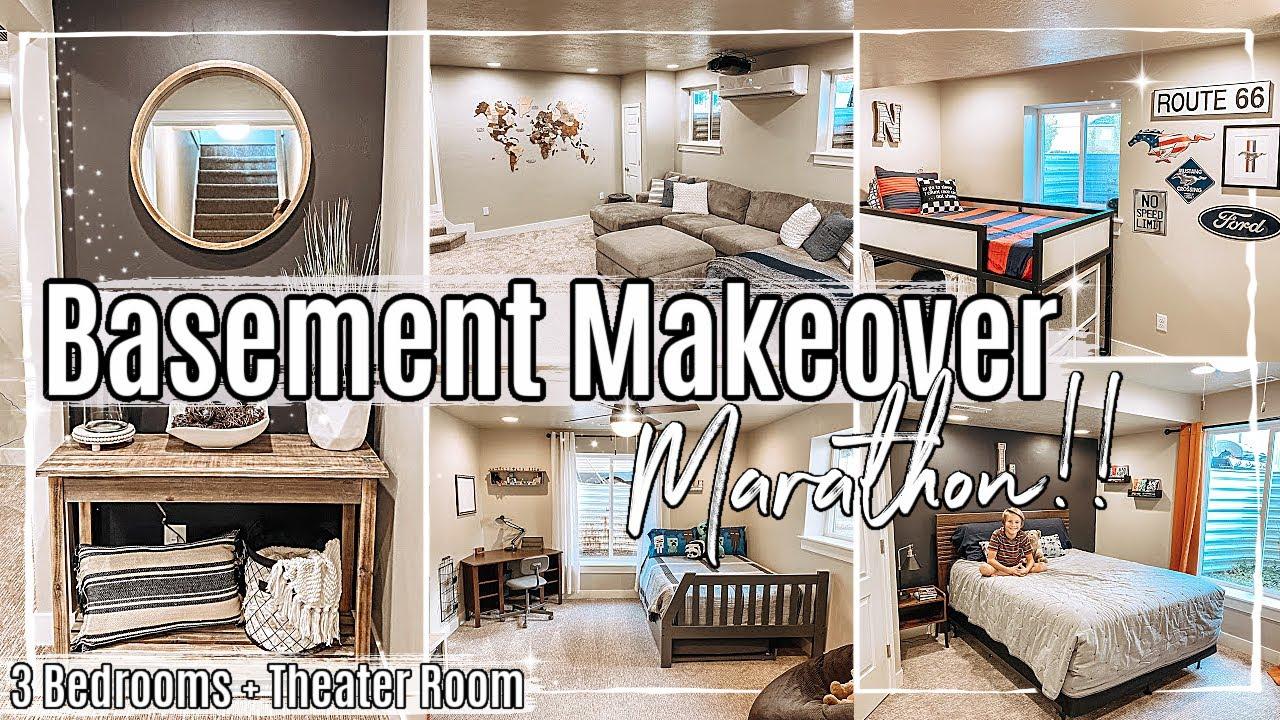 BASEMENT MAKEOVER MARATHON 2020 :: 3 BEDROOM TRANSFORMATIONS + THEATER ROOM MAKEOVER