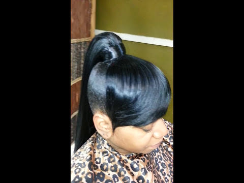 High genie ponytail and bang quick weave