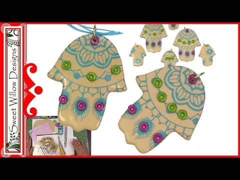 Polymer Clay Tutorial Silk Screen Hamsa Pendant