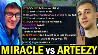MIRACLE vs ARTEEZY Friendly Trash Talk Allstar Fun Game Dota 2