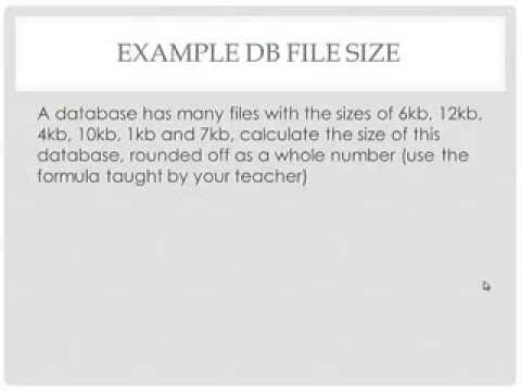 How to calculate the size of a DB