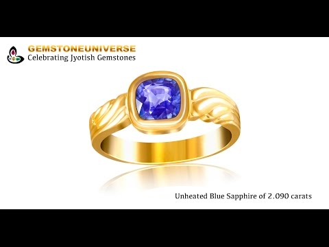 Exceptionally clean Cushion cut Ceylon Blue Sapphire set in Gold ring