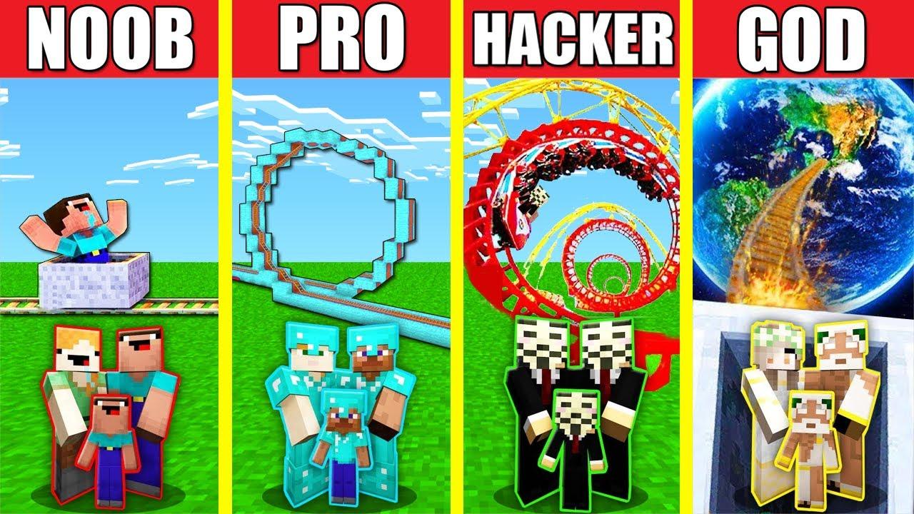 Minecraft Battle: ROLLERCOASTER BUILD CHALLENGE - NOOB vs PRO vs HACKER vs GOD / Animation HOUSE