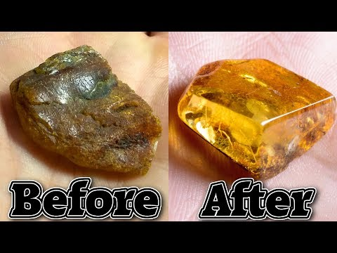 Gemstone from Raw Amber Using Sandpaper, Cloth and Toothpaste (Shaping and Polishing.)
