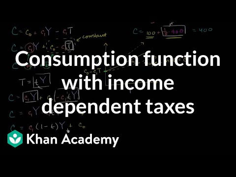Consumption function with income dependent taxes | Macroeconomics | Khan Academy