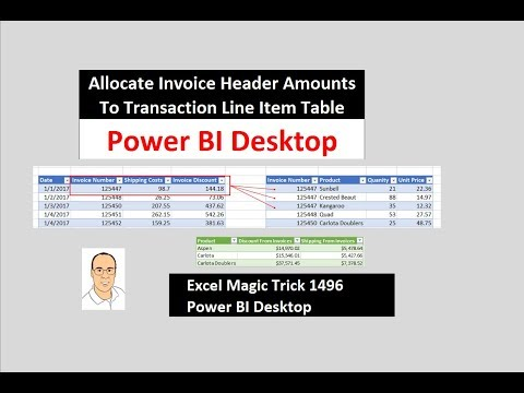 EMT 1496: Power BI Desktop: Allocate Invoice Header Amounts To Transaction Line Item Table