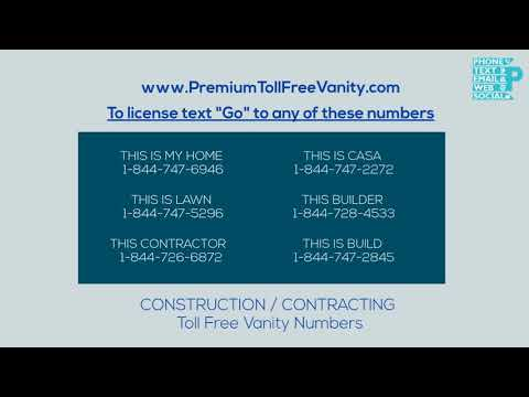 Buy Local Toll Free Vanity Numbers in Construction / Contracting