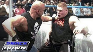 """Stone Cold"" Steve Austin confronts Brock Lesnar days before WrestleMania: SmackDown, March 11, 2004"