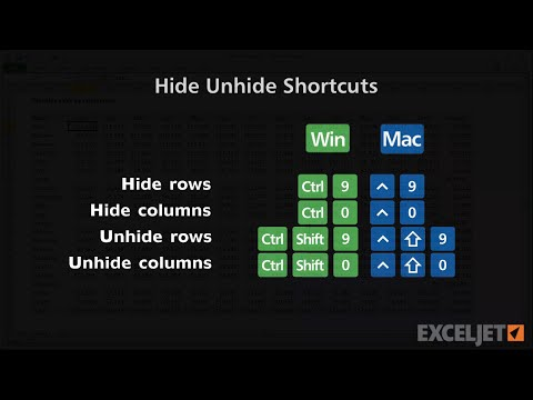 Shortcuts to hide/unhide rows and columns