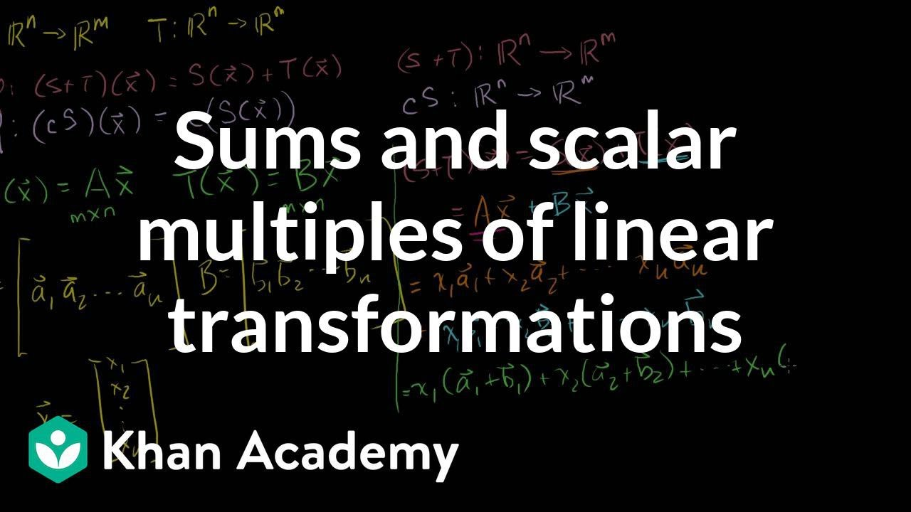 Sums and scalar multiples of linear transformations | Linear Algebra | Khan Academy