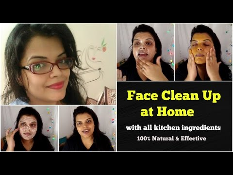 FACE CLEAN UP at HOME FOR OILY & DRY SKIN, NATURAL CLEANUP FOR WOMEN & MEN in HINDI