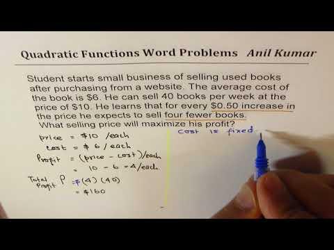 Profit Revenue Cost Quadratic Equation Examples MPM2D IB Math