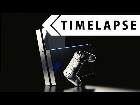 Playstation 4 - Modeling, Texturing, Rendering (BLENDER TIMELAPSE)