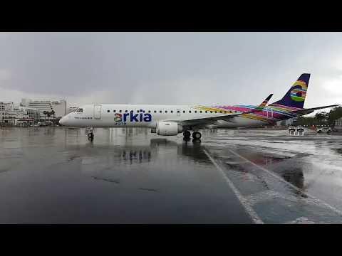 TAKE OFF IN THE RAIN - EMBRAER ERJ-195AR  ARKIA IZ814 EILAT TO TLV