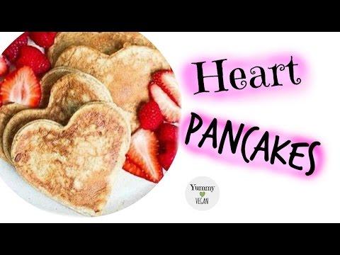 Heart Valentines Day Pancakes   YUMMY VEGAN
