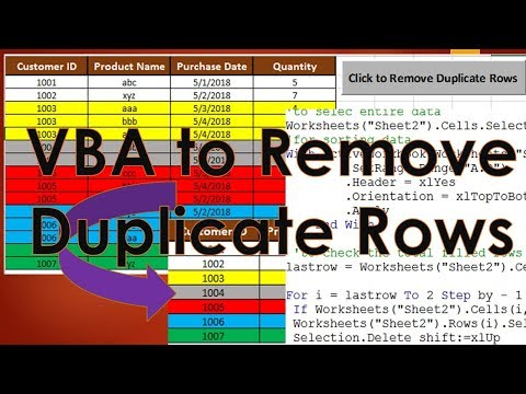 VBA to Remove Duplicate Rows - Excel VBA Tutorial by Exceldestination