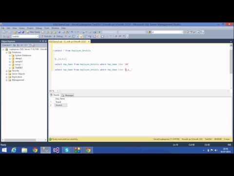 11. SQL Server Tutorials - wildcards