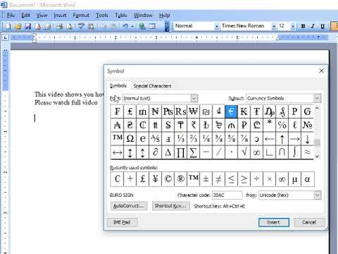How to insert POUND Sign in MS Word