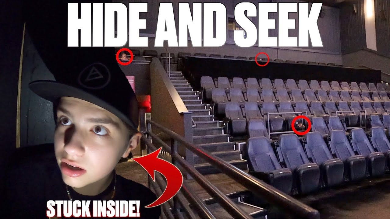 EXTREME HIDE AND SEEK IN AN EMPTY MOVIE THEATER   GOT STUCK AND HAD TO CALL FOR HELP!