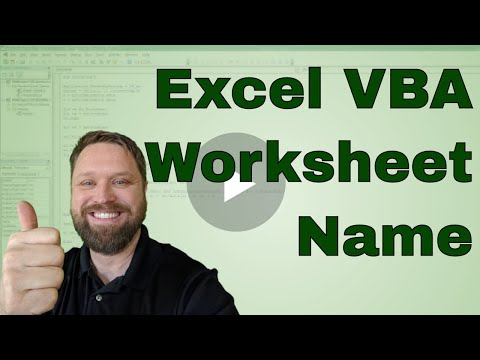 Excel VBA Worksheet Name