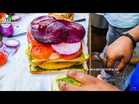 Vegetable Sandwich Recipe | Bombay Veg Sandwich | Step by Step street food