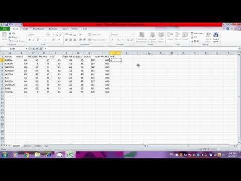 HOW TO CREATE EXCEL IN MARKSHEET PART-1