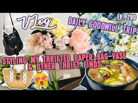 STYLING MY THRIFTED PAPER BAG VASE & OTHER THRIFT FINDS   DAILY GOODWILL TRIP   VLOG EP. 280