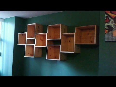DIY how to make a WINE BOX BOOK SHELF