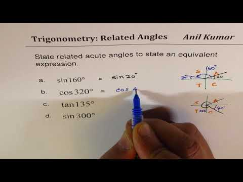 State related acute angle to state equivalent expression sin 160 tan 135