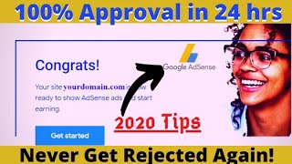 100% How To Get Google AdSense Approval In Just One Day 2020 Tips [English]