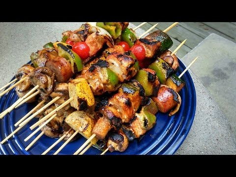 Pork Kabobs on Cast Iron Griddle