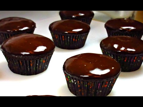 Easy Chocolate Cupcakes w/ Ganache Icing Recipe - Egg Free Chocolate Cupcakes