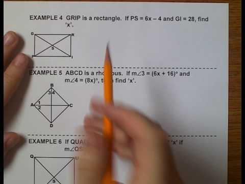 Geometry (Topic 6-5) More Quadrilaterals