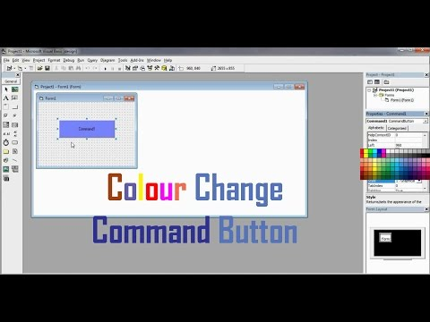 How to change the colour of a Command button in Vb 6.0