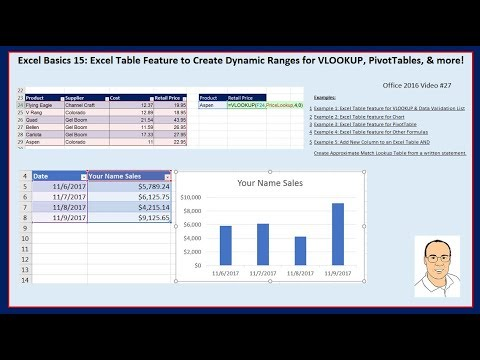 Excel Basics 15: Excel Table Feature & Dynamic Ranges for VLOOKUP, PivotTables, & more!