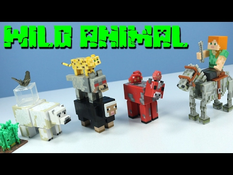 Minecraft Wild Animal Pack & Alex with Skeleton Horse Jazwares Series 3