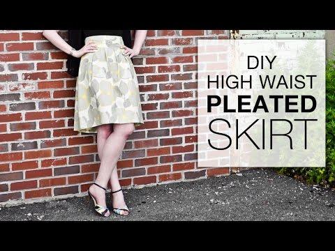 DIY High Waisted Pleated Skirt Tutorial - Free Pattern