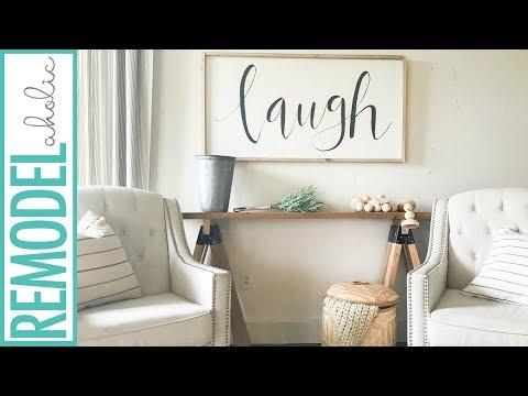 Easy DIY 2x4 Sawhorse Sofa Table | Farmhouse Style on a Budget