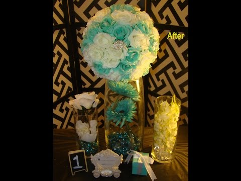 DIY Tiffany Blue and White Clear Crystal Wedding  Flower Balls