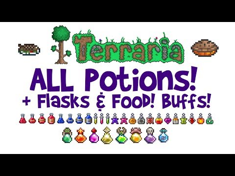 Potion Guide for Terraria! ALL Potions + Flasks! How to Craft/Make, Best for Boss Fights etc!