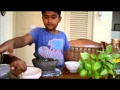 My 8-year old+ Kid, Making Pesto Sauce Using Mortar and Pestle