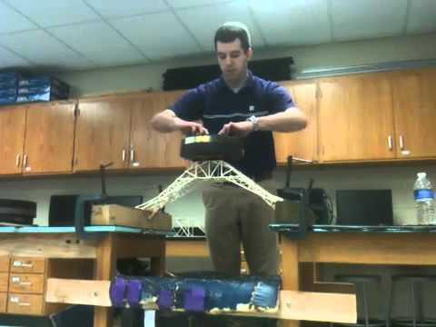 Toothpick Bridge holds 145 lbs