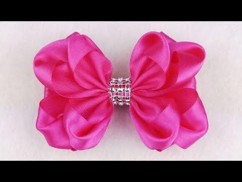 DIY Ribbon Hair Bow I Kanzashi Ribbon Bow Flower I How To Make Ribbon Bow