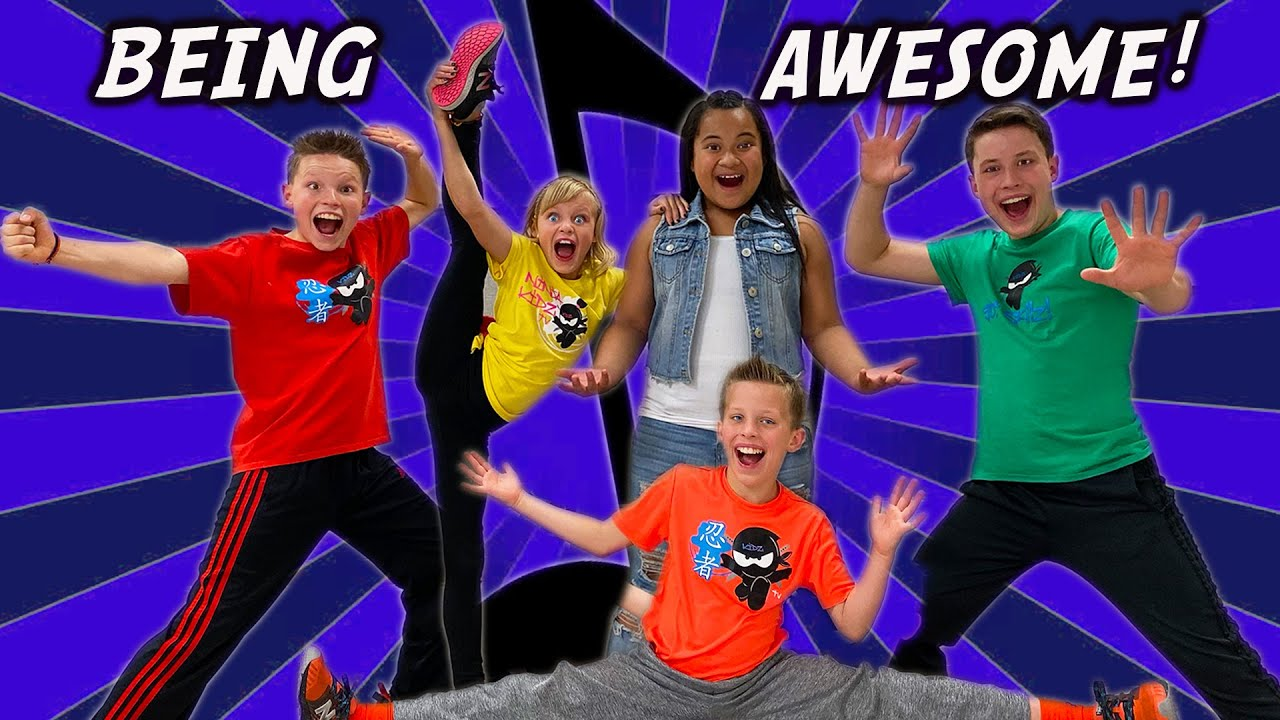 Being Awesome! Ninja Kidz Music Video (Lyrics)