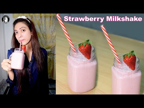 Yummy Yummy Strawberry Milkshake Recipe - How to make Strawberry Shake - Kitchen With Amna